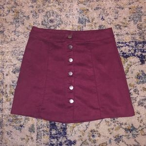 H&M faux maroon suede skirt